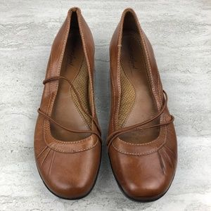 Natural Soul Brown Leather Mary Jane Flats